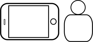 phone at right angle (with the button on the right side)